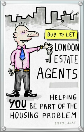 Szpylbert cartoon about estate agents
