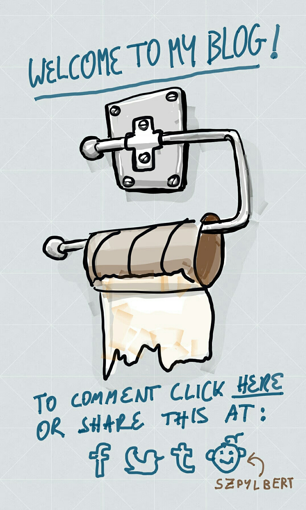 Szpylbert cartoon about blogs and toilet walls