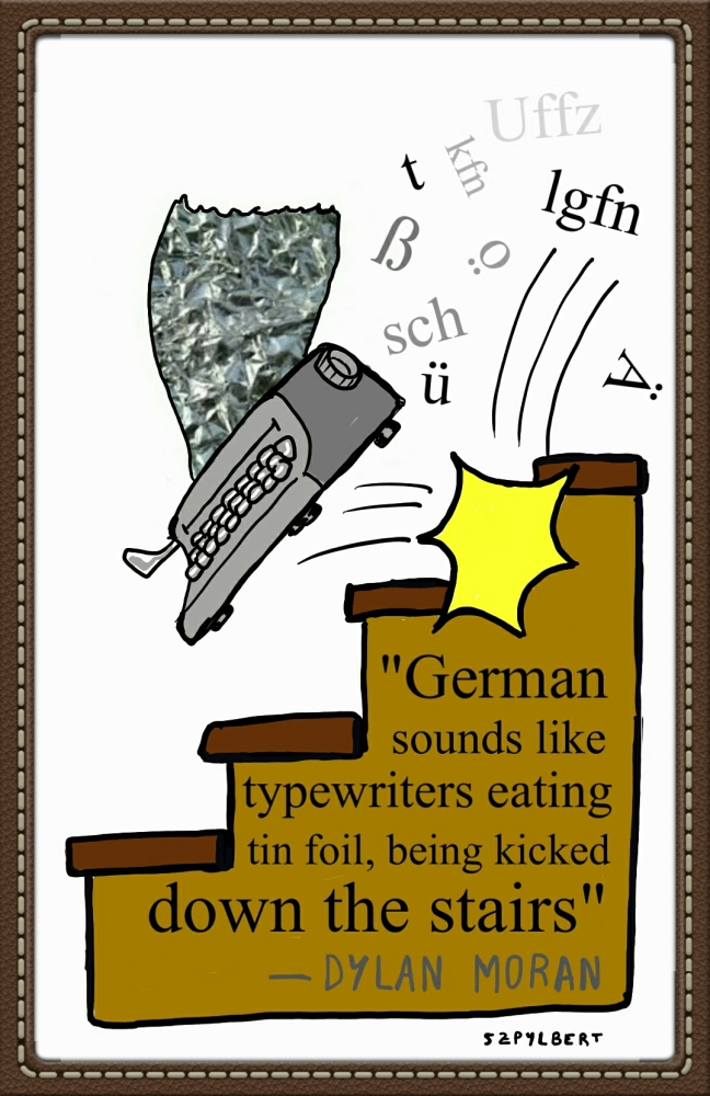 Szpylbert cartoon about the sound of German