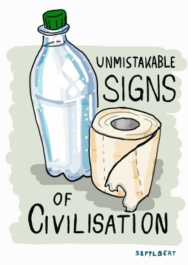 Szpylbert cartoon about water and toilet paper