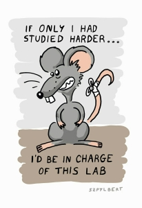 Szpylbert cartoon about a lab rat wishing to be a scientist