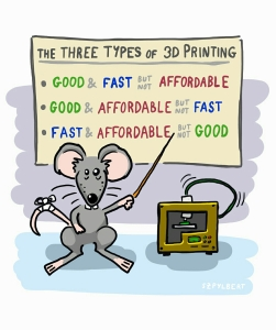 Szpylbert cartoon about three types of 3d printing