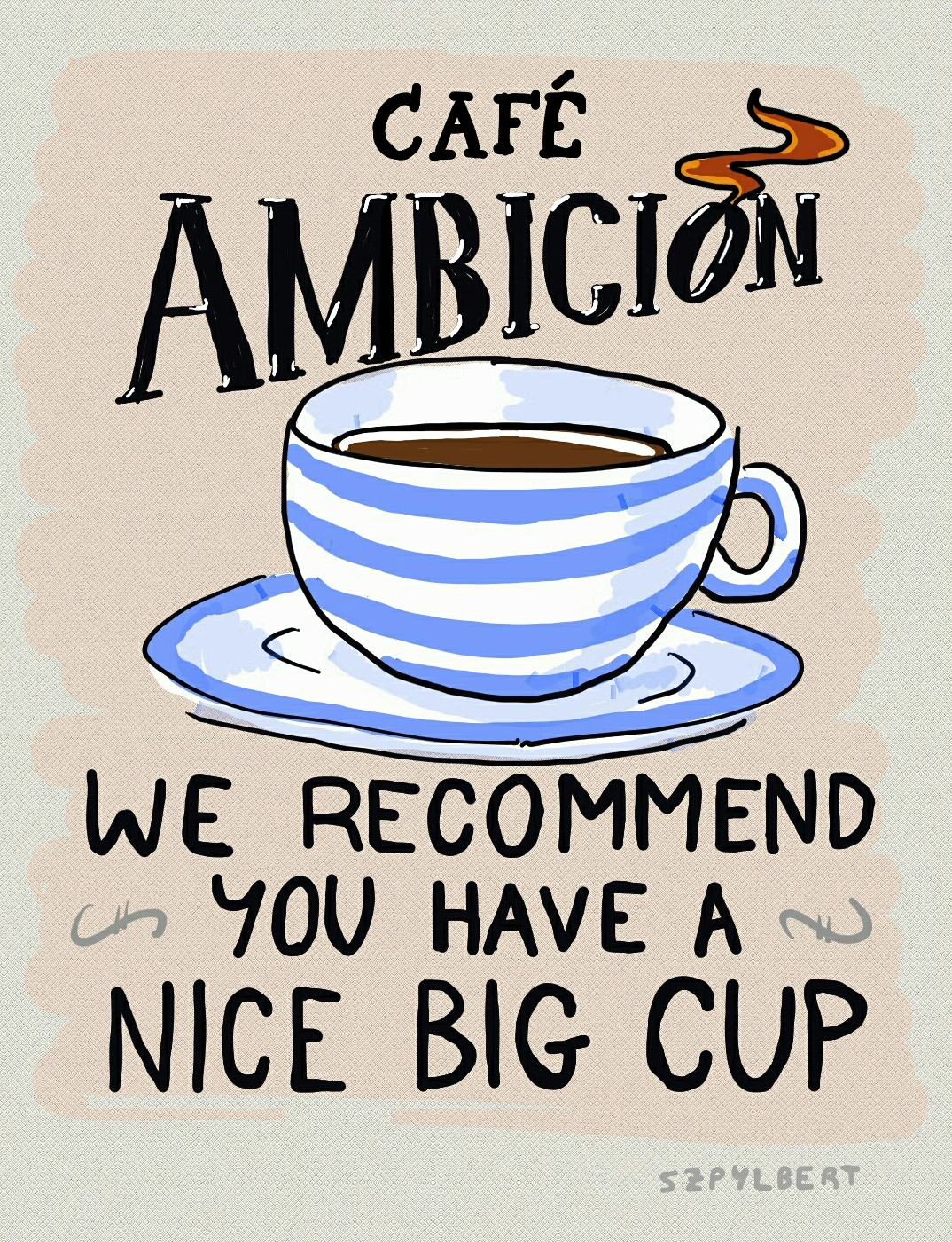 Szpylbert cartoon about coffee and ambition
