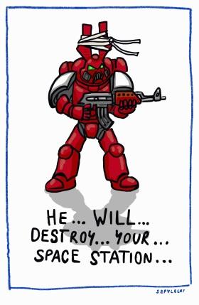 Szpylbert cartoon about Dorbonokon the Space Terrorist
