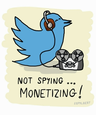 Szpylbert cartoon about Twitter 's spying