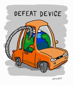 Szpylbert cartoon about car pollution and defeat devices