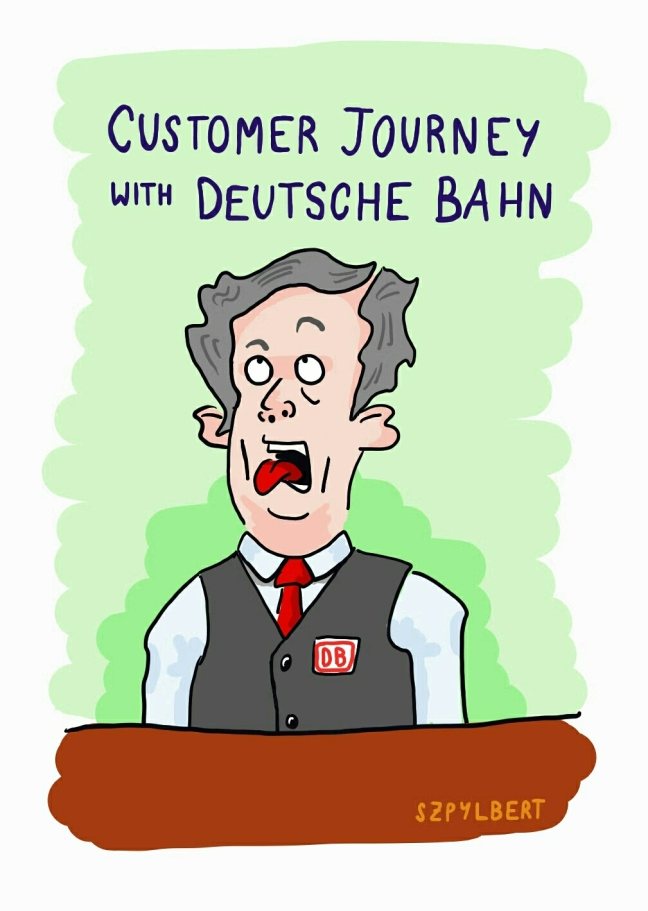 Szpylbert cartoon about customer experience at deutsche bahn