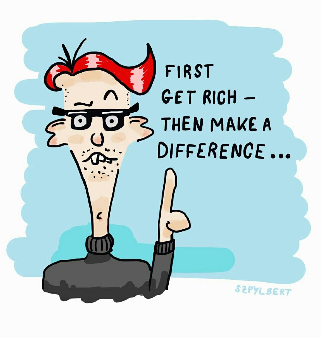 Szpylbert cartoon about the morale of entrepreneurs