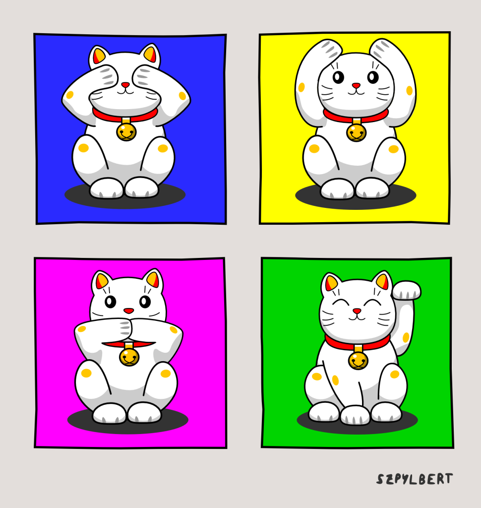 Szpylbert cartoon cat motif