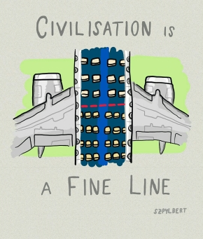 Szpylbert cartoon about the fine line of civilisation