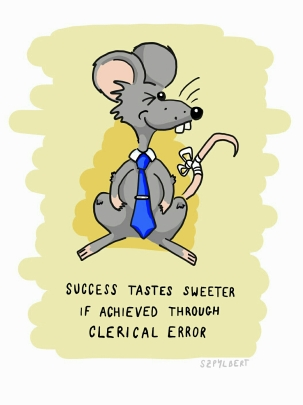 Szpylbert cartoon with Ferdinand about the importance of clerical error for success