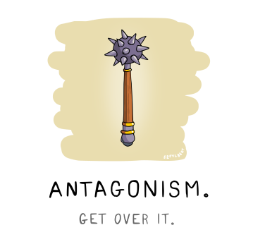 Szpylbert cartoon visualising Antagonism