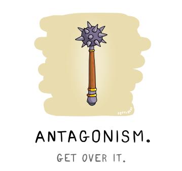 Szpylbert cartoon visualising Antagonism