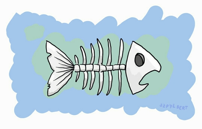 Szpylbert cartoon showing fish bones
