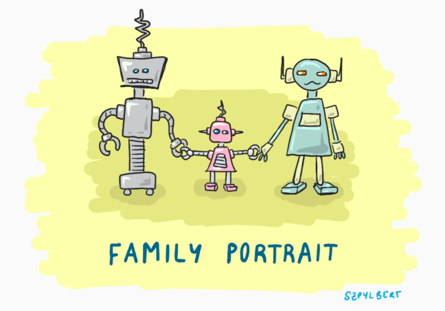 Szpylbert cartoon family portrait