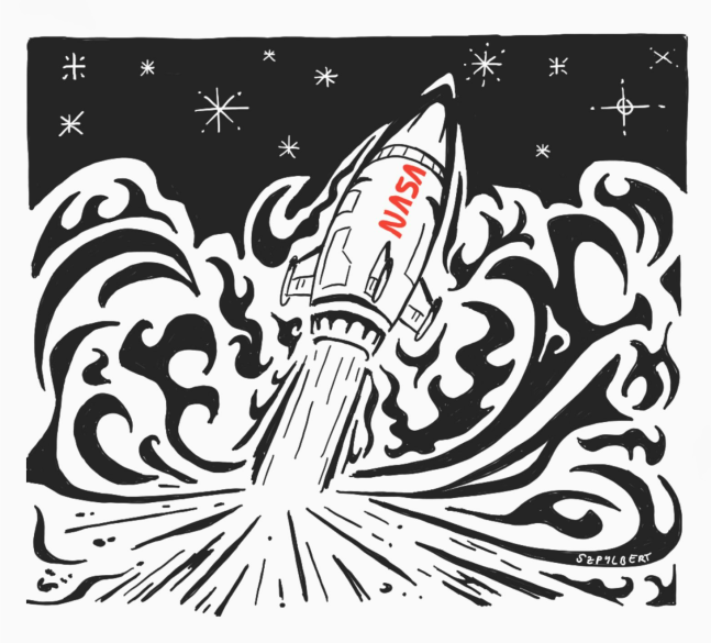 Szpylbert doodle of a rocket lifting off