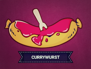 Cartoon of a currywurst