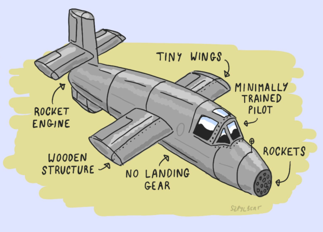 Szpylbert cartoon of a Natter rocket plane