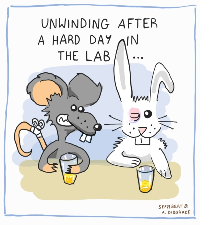 Cartoon of lab animals having a beer